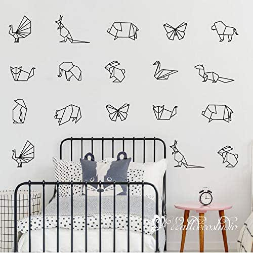 Aircraft Decal AnimalSticker Bedroom Decor Geometry Decal Art Forest Decal Paper Origami Nursery Decor GF482