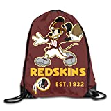 Jerrymoaus Washington Redskins Cartoon Mouse Travel Canvas Drawstring Backpack Shoulder Bag