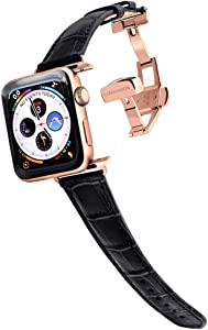 Longvadon Women's Caiman Series Watch Band - Compatible with Apple Watch 38MM (Series 1-3) & 40MM (Series 4-6) - Genuine Top Grain Leather - Midnight Black with Gold Details - M Size