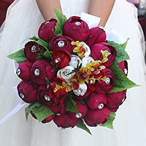 FYSTORE Wedding Bouquet - Artificial Roses Peony Lily Real Touch Bridal Holding Flowers 8.6 inch 28