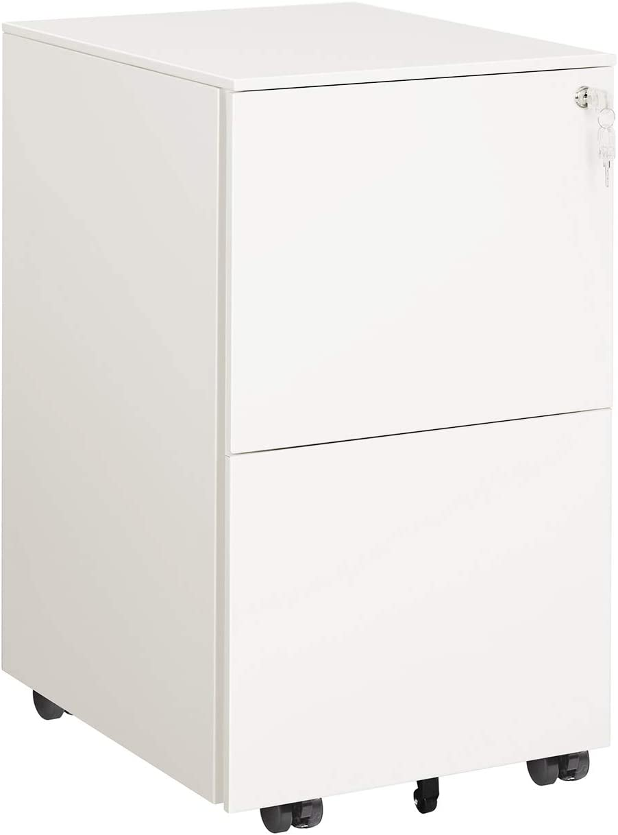 DEVAISE 2 Drawer Mobile File Cabinet with Lock, Metal Filing Cabinet for Legal/Letter/A4 Size, Fully Assembled Except Wheels, White …