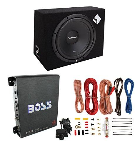 "Rockford Fosgate R1-1X12 12"" 400W Car Subwoofer + Box + 1000W Mono Amp + Amp Kit"