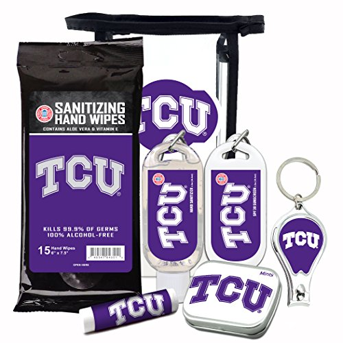 TCU Horned Frogs 6-Piece Fan Kit with Decorative Mint Tin, Nail Clippers, Hand Sanitizer, SPF 15 Lip Balm, SPF 30 Sunscreen, Sanitizer Wipes. NCAA Gifts for Men and Women