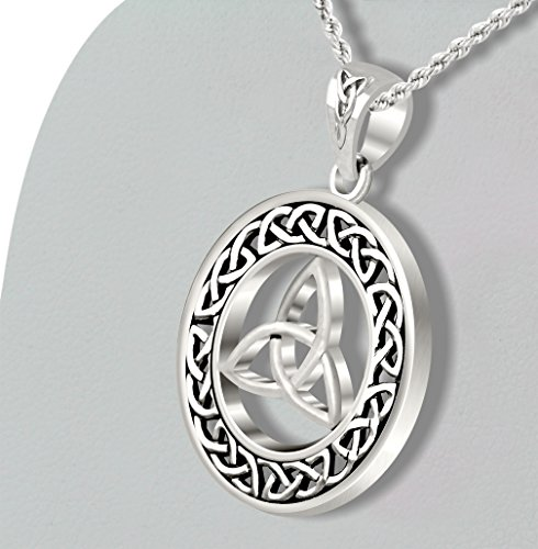 New Round 0.925 Sterling Silver Irish Celtic Trinity Love Knot Pendant Necklace by US Jewels And Gems (Image #2)