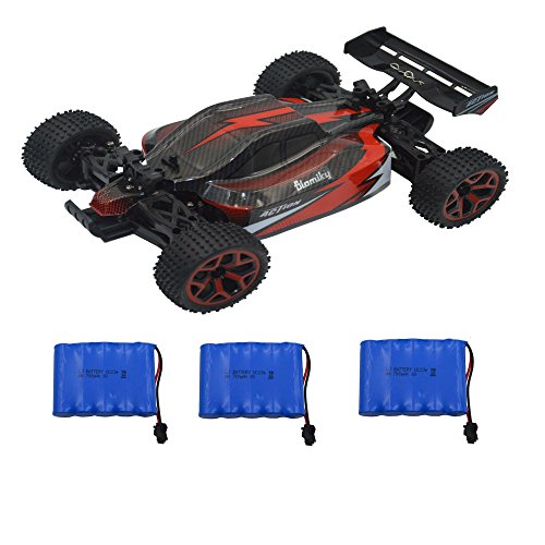 Blomiky 1:18 Scale 4WD High Speed RC Car Toy Remote Control RC Truck Buggy Off Road Crawler Vehicle Extra 2 Battery GS06 Red
