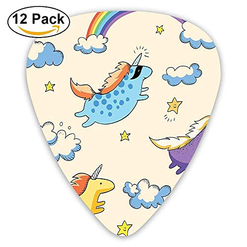 stel Colored Illustration Of Several Flying Pony Baby Unicorns In The Air 351 Shape Premium Picks (12 Pack) ()