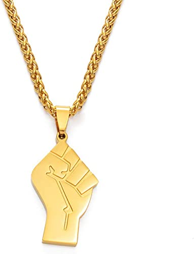 Black Lives Matter African Necklaces Women Men, Gold Color Stainless Steel Blm Africa Fist Jewelry 60Cm | Amazon.com