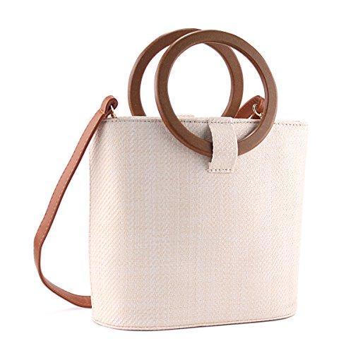 Women Khaki Summer Bag Rattan Fashion Woven Handle Beach Handbags white Beige Cross Handbag Top Straw Body ACMEDE F1zqWnd6F