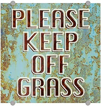 Please Keep Off Grass 16x16 Ghost Aged Blue Premium Brushed Aluminum Sign 5-Pack CGSignLab