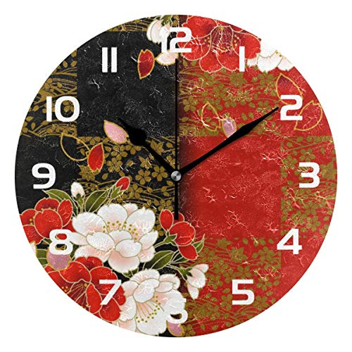 (Dozili Flower Floral Decorative Wooden Round Wall Clock Arabic Numerals Design Non Ticking Wall Clock Large for Bedrooms, Living Room, Bathroom)