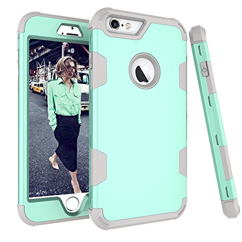 Design Silicone Protective Case - KAMII iPhone 6S Plus Case, iPhone 6 Plus Case - Shockproof Rugged High Impact Hybrid Drop Proof Armor Hard PC+ Soft Silicone Defender Full-Body Protection Case for iPhone 6 / 6S Plus (Aqua+Grey)