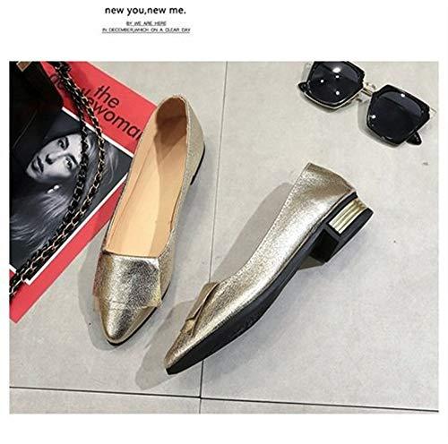 Dama Baja Plano Salvaje Inferior Dedo Dorado Zapatos Cómoda Puntiagudo De Del Boca Mocasines Moda Suave Pie Fondo Z7Bqwx0n
