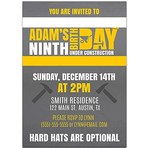 Construction Wording Birthday Party Invitations (Wording Birthday Party Invitations)