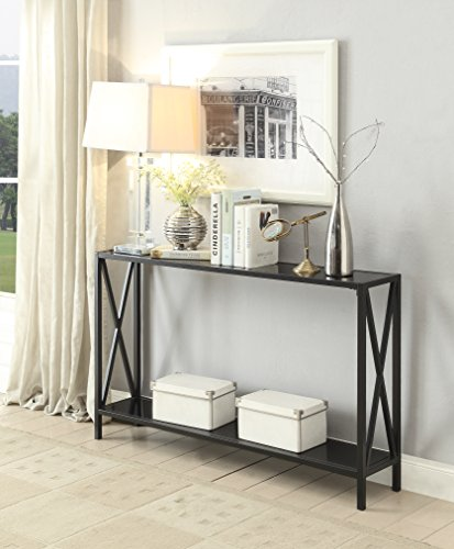 Black Glass / Black Metal Frame 2-tier Entryway Console Sofa Table with X-Design Sides