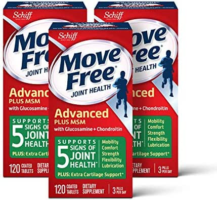 Move Free Glucosamine & chondroitin + msm Joint Health Tablets, move free (120 Count in a Bottle), Pack of 3, 360 Count