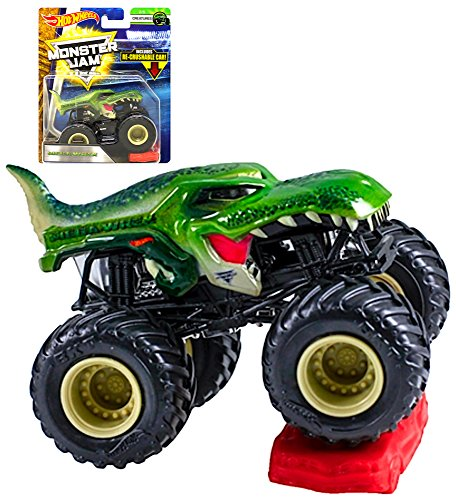 Hot Wheels Monster Jam Creatures Mega-Wrex with Re-Crushable Car