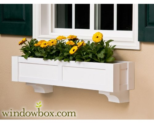 72 Inch Sophia Direct Mount No Rot PVC Composite Flower Window Box w/ 2 Decorative Brackets by Windowbox