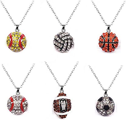 Tiande 6 Pcs Unique Rhinestone Pendant Necklace Cute Basketball Volleyball Baseball Football Rugby Shiny Crystal Sport Fans Necklace for Women Men Gift