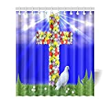 Catholic Christian Religious Church Gifts Cross Waterproof Bathroom decor Fabric Shower Curtain Polyester 66 x 72 inches
