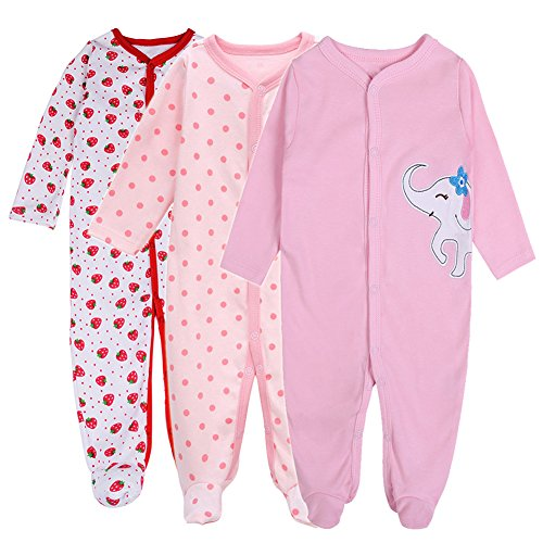Baby Girl Footed Pajamas- Soft Long Sleeve Jumpsuit 3-Pack Snug-Fit Cotton Infant Footed Pajamas (0-3 Months)