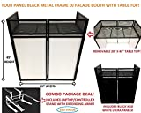 DJ Event Facade White/Black Scrim Metal Frame Booth + 20' x 40' Flat Table Top. Combo Deal! Includes White Laptop/Controller Stand!