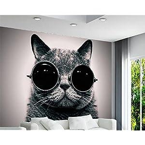 LHDLily 3D Wallpaper Mural Fresco Sticker Custom Wallpaper European Retro Wear Sunglasses Cat Cute Playing Cool Children Room Background 3D Wallpaper Mural 400cmX300cm