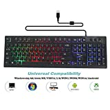 Biiolo Backlit LED Wired Gaming Keyboard, Mechanical Feeling USB Keyboard with Backlight Rainbow Multicolor Water-Resistant Adjustable Illuminated Computer Keyboard for PC Games Office