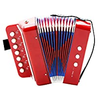 Kids Piano Percussion Accordion Musical Toy, Children 7-Key 2 Bass Mini Small Accordion Instrument Rhythm Toy for Early Childhood Teaching (Red)