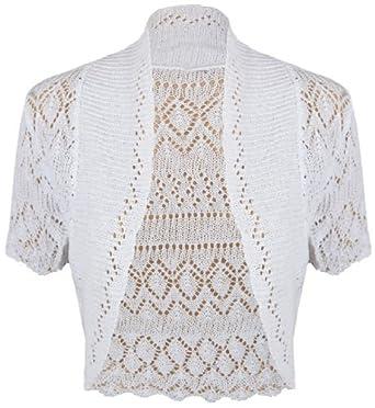 New Ladies Crochet Knit Bolero Shrug Womens Short Sleeve Cropped ...