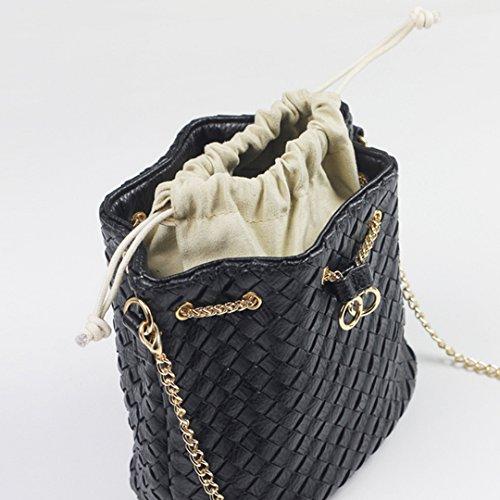 Satchel Tote Purse Mini Woven Bucket Purse Women Black Girls Bag Hobo Bag Crossbody Heidi Drawstring qPCx7