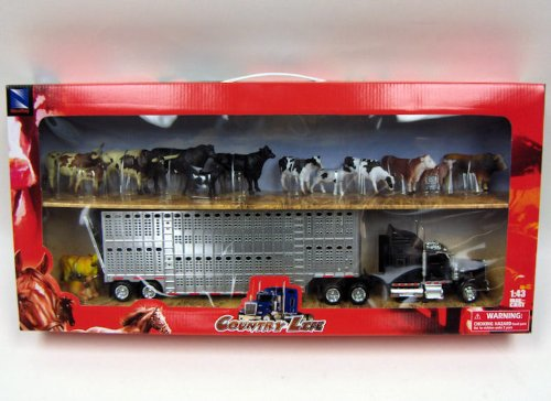 Country Life - Kenworth Livestock Tractor Trailer with 10 Head of Cattle - 1:43 (Livestock Trailer)