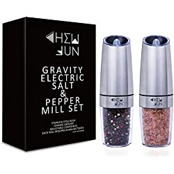 Gravity Electric Salt and Pepper Grinder Set of 2 - Pepper Mill and Salt Mill with Adjustable Ceramic Rotor, Automatic Operation, Blue LED Light, Battery Powered, Brushed Stainless Steel by CHEW FUN