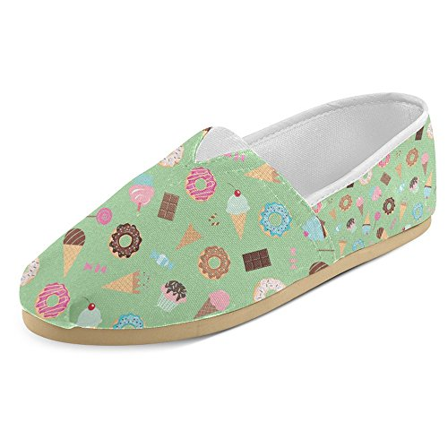 InterestPrint Womens Loafers Classic Casual Canvas Slip On Fashion Shoes Sneakers Flats Ice Cream 7Ln0gOm