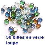 lot de 50 Billes loupe transparente plate de décoration