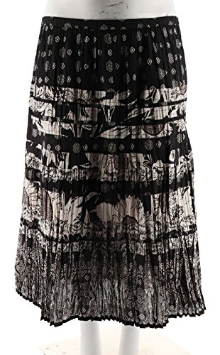 Susan Graver Printed Cotton Broomstick Tiered Skirt A231974, Black, XL