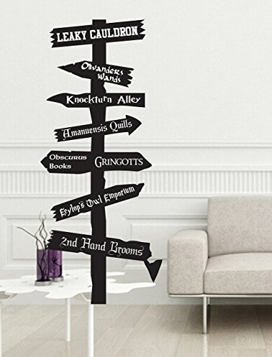 [Harry Potter V2 road sign Vinyl wall Decal inspired by fandom Fantasy Hogwarts Ministry Magic Olivanders snitch knockturn alley gringotts leaky cauldron] (Harry Potter The Leaky Cauldron)