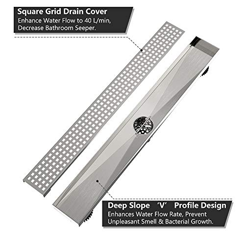 Tile Insert with Ushower 24 Inch Linear Drain for Shower with Shower Drain Base