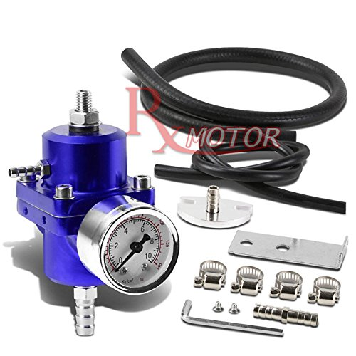 Rxmotor Fuel Pressure Regulator with Gauge 140PSI Adjustable