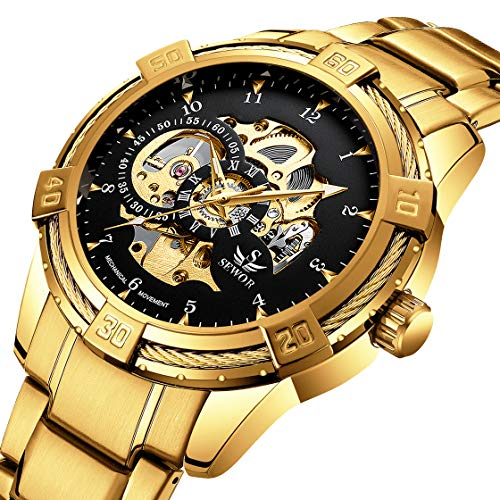Men's Watches Skeleton Mechanical Fashion Business Automatic Punk Style with Stainless Steel Band Wrist Watch Gold -