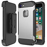Trianium iPhone 8 Case [Duranium Series] Rugged Holster Heavy Duty Protective Cover with Built-in Screen Protector for Apple iPhone 8 Phone (2017) Belt Clip Kickstand [Full Body Protection] - Silver