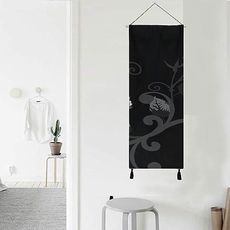 Rosa Negro Blanco Floral Elegante Elegancia Baño Colgante de pared Famy Decoración de pared 13 pulgadas de ancho X 47 pulgadas de largo Decoración moderna para el hogar Baño Tapiz de pared