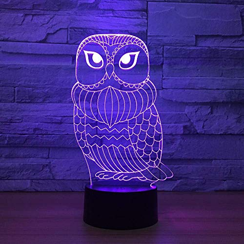 OVIIVO Creative Table Lamp Desk Lamp 3D Lamp Cute Owl 7 Color Led Night Lamps for Kid Touch Led USB Table Lampara Baby Sleeping Nightlight Led with Sensor Using for Reading, Working by OVIIVO (Image #2)