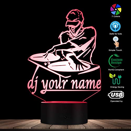 3D Night Light,Disco Dj Led Night Light Creative Table Lamp Dj Turntable Personalised Custom Your Name Music Club Party Decorative Lighting,Remote Control (Table Lamps Creative)