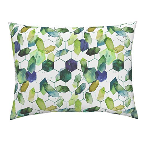 Roostery Watercolor Jade Standard Knife Edge Pillow Sham Watercolor Home Decor Jade Jewels Watercolor Geometric Modern Home Decor Abstract Diamonds by Karismithdesigns 100% Cotton Sateen