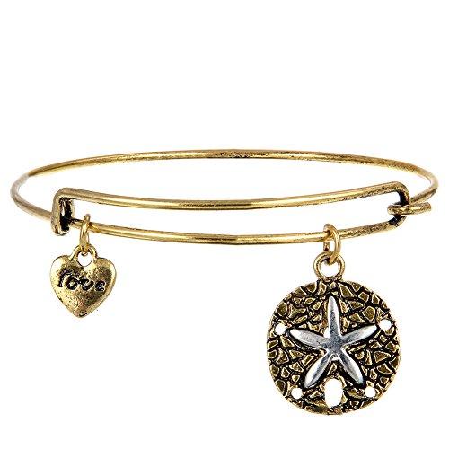 Retro Alloy Starfish Pendant Charm Bracelet Adjustable ()