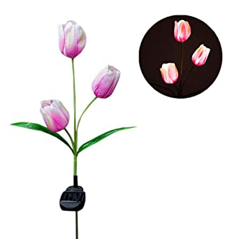 uni uni solar led light lamp outdoor decorative artificial tulips