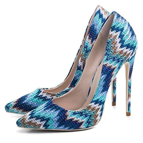 EUR44UK10 Pied Femmes Stylet BLUE Pointu NVXIE Tribunal Doigt Pompes Talon Haute Robe de Chaussures Bleu Fête Uxq0AZ