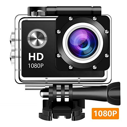 Action Camera, 12MP 1080P 2 Inch LCD Screen, Waterproof Sports Cam 140 Degree Wide Angle Lens