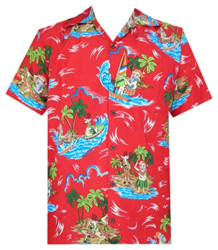 - Hawaiian Shirts 49 Mens Reindeer Santa Beach Aloha Casual Holiday Red 4XL