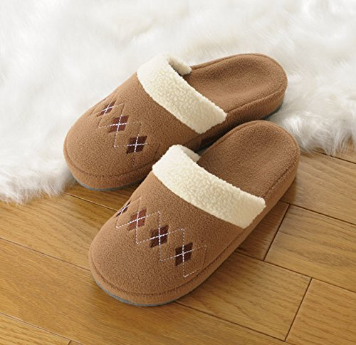 Tortoise Totas Fleece w/ Embroidery Fit Bore House Shoes Argyle Brown 47607 ()